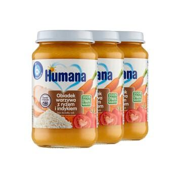 Zestaw 3x Humana 100% Organic, obiadek warzywa z ryżem i indykiem, bez dodatku soli, 190 g