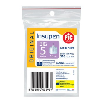 PiC Solution Insupen, igły do penów insulinowych, 31G x 5 mm, 10 szt.
