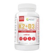 Wish Witamina K2 Vita MK-7 + D3, kapsułki, 120 szt.