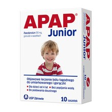 Apap Junior, 250 mg, granulat, 10 saszetek