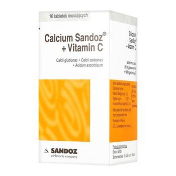 Calcium-Sandoz + Vitaminum C, tabletki musujące orange, 10 szt