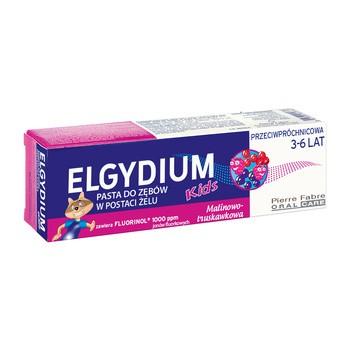 Elgydium Pasta Przeciwpróchnicowa Kids o smaku malinowo-truskawkowym dla dzieci w wieku 3-6 lat, 50ml