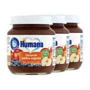 Zestaw 3x Humana 100% Organic, deserek jabłko-jagoda, 125 g