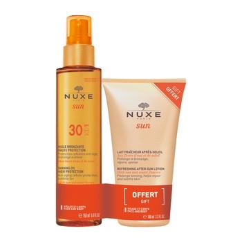 Zestaw Promocyjny Nuxe Sun, brązujący olejek do opalania SPF 30, 150 ml + orzeźwiający balsam po opalaniu, 100 ml GRATIS