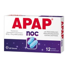 Apap Noc, 500 mg + 25 mg, tabletki powlekane, 12 szt.