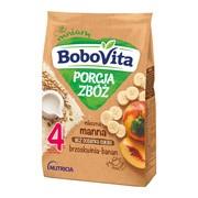 BoboVita Porcja Zbóż, kaszka mleczna, bananowo-brzoskwiniowa, manna, 4m+, 210 g