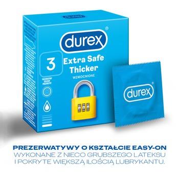 Durex, Extra Safe, prezerwatywy powlekane środkiem nawilżającym, 3 szt