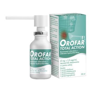 Orofar Total Action, 2 mg+1,5 mg/ml, aerozol do stosowania w jamie ustnej, 30 ml