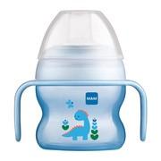 MAM Starter Cup, kubek startowy niekapek z miękkim ustnikiem i uchwytami, 4 m+, niebieski, 150 ml