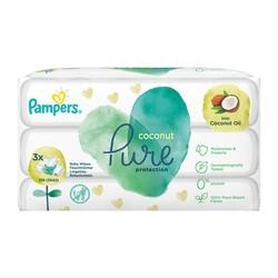 Pampers Coconut Pure, nawilżane chusteczki dla dzieci, 3 x 42 szt.