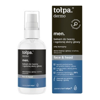 Tołpa Dermo Men Face & Head, balsam do twarzy i ogolonej skóry głowy, 75 ml