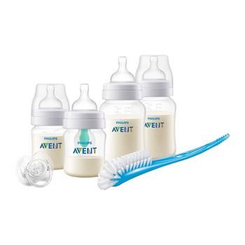 Avent, zestaw startowy dla noworodków, 4 butelki ze smoczkami Classic + szczotka + nakładka AirFree + smoczek ortodontyczny