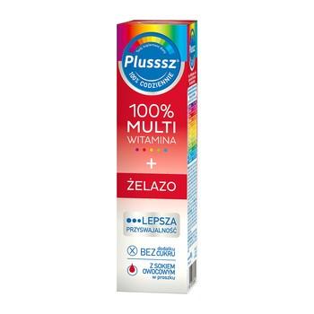 Plusssz 100% Multiwitamina + Żelazo, tabletki musujące, 20 szt.