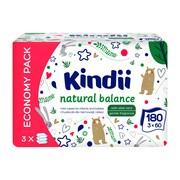 Cleanic Kindii Natural Balance, chusteczki dla niemowląt i dzieci, 3 x 60 szt.