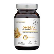 Omega + Witamina D3 800 IU dla dzieci, kapsułki miękkie, 60 szt.