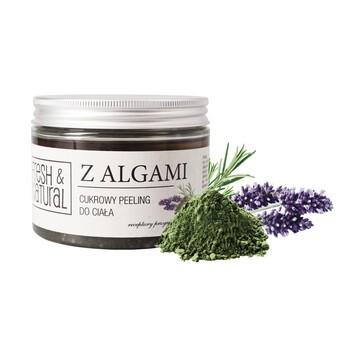 Fresh&Natural, cukrowy peeling do ciała z algami, 550 g