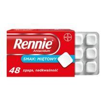 Rennie Antacidum, 680 mg+80 mg, tabletki do ssania, smak miętowy, 48 szt.