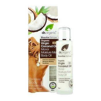 Dr.Organic Virgin Coconut Oil, olejek nawilżający Monoi do ciała z organicznym olejkiem kokosowym, 90 g