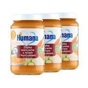 Zestaw 3x Humana 100% Organic, zupka warzywna z ryżem i kurczakiem, bez dodatku soli, 190 g