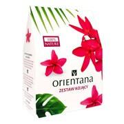 Zestaw Promocyjny Orientana Kojący, kojąca kuracja do twarzy na noc, 50 ml + peeling enzymatyczny, 50 ml + maska z naturalnego jedwabiu na twarz, granat i zielona herbata, 1 szt. GRATIS