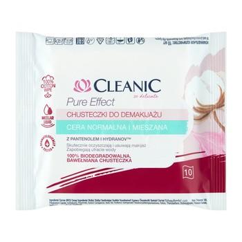 Cleanic Pure Effect, chusteczki do demakijażu do cery normalnej i mieszanej, 10 szt.