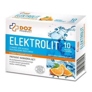 DOZ PRODUCT Elektrolit o smaku pomarańczowym, proszek, 4,25 g x 10 saszetek