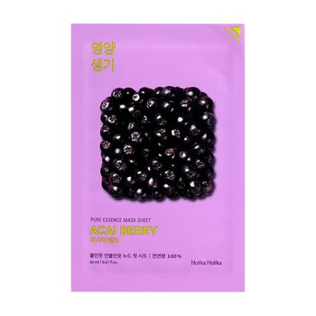 Holika Holika Pure Essence Mask Sheet - Acai berry, maseczka na bawełnianej płachcie z ekstraktem z jagód acai, 20ml