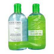 Bioderma Sebium H20, płyn micelarny do oczyszczania twarzy i zmywania makijażu, cera trądzikowa, 500 ml x 2
