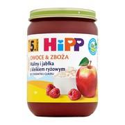 HiPP BIO, maliny i jabłka z kleikiem ryżowym, po 5. miesiącu, 190 g
