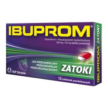 Ibuprom Zatoki, 200 mg + 30 mg, tabletki powlekane, 12 szt.