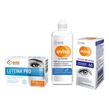 Zestaw do pielęgnacji soczewek kontaktowych i oczu (płyn + krople + luteina)