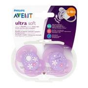 Avent, różowy smoczek ortodontyczny ultra soft, 6-18 m, 2 szt.