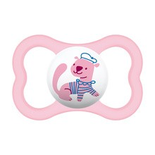 MAM Silk Teat, smoczek uspokajający, silikonowy, Air, ( 6m+), girl, 1 szt.