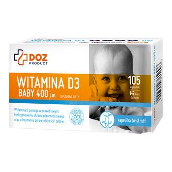 DOZ PRODUCT Witamina D3 baby 400 j.m., kapsułki twist-off, 105 szt.
