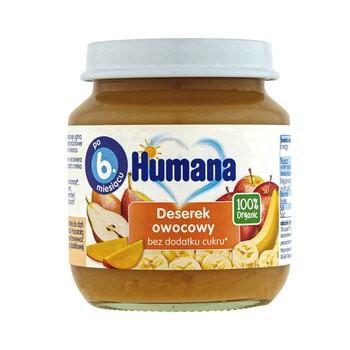 Humana 100% Organic Deserek owocowy, bez dodatku cukru, 6 m+,125 g