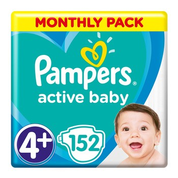 Pampers Active Baby 4+, (10-15 kg), 152 szt.