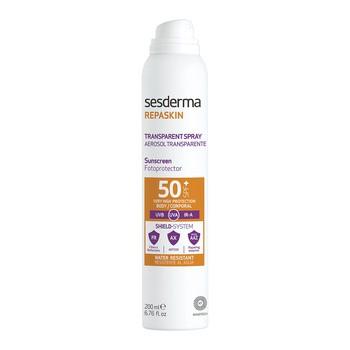 Sesderma Repaskin Transparent Spray Aerosol, transparentny fotoprotektor SPF 50+, 200 ml