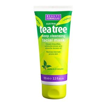 Beauty Formulas, oczyszczająca maseczka glinkowa do twarzy, Tea Tree, 100 ml