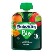 BoboVita Bio, mus jabłko z brzoskwinią i pigwą, 6 m+, 80 g