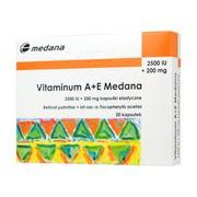 Vitaminum A+E Medana, 2500 j.m.A + 200 mg E, kapsułki,  20 szt.