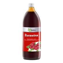 Żurawina 100%, sok bez konserwantów, 1000 ml (EkaMedica)