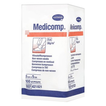 Kompresy włókniste niejałowe Medicomp, 4 warstwowe, 5 cm x 5 cm, 100 szt.