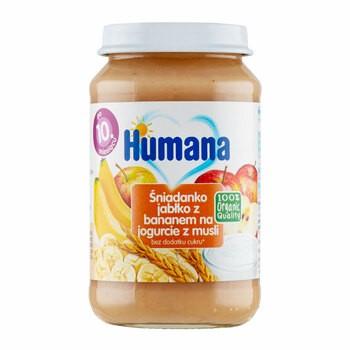 Humana 100% Organic Śniadanko jabłko z bananem na jogurcie z musli, 10 m+, 190 g