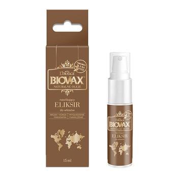 Biovax Naturalne Oleje, Argan, Makadamia, Kokos, nawilżający eliksir do włosów, 15ml