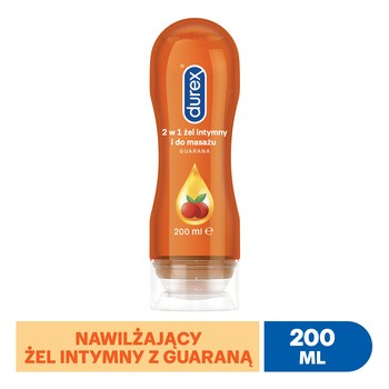 Durex Play 2w1 Massage Lube, stymulujący żel intymny i do masażu z pobudzającą guaraną, 200 ml
