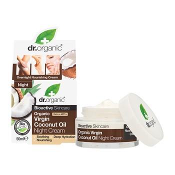 Dr. Organic Virgin Coconut Oil, krem na noc z olejkiem kokosowym, 50 ml