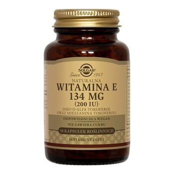 Solgar Naturalna Witamina E, 134 mg, kapsułki, 50 szt.