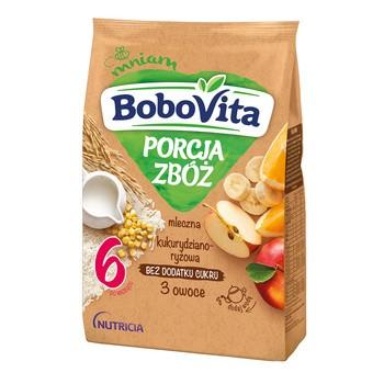 BoboVita Porcja Zbóż, kaszka mleczna, 3 owoce, kukurydziano-ryżowa, 6m+, 210 g
