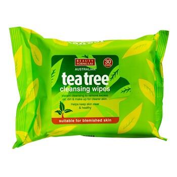 Beauty Formulas, chusteczki oczyszczające do twarzy, tea tree, 30 szt.
