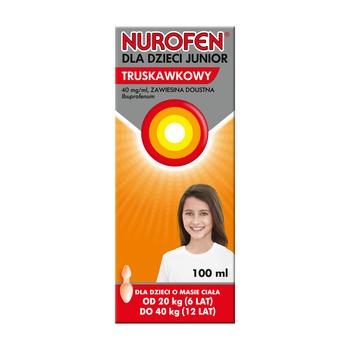 Nurofen dla dzieci Junior truskawkowy, (40 mg/ml), zawiesina doustna, 100 ml
